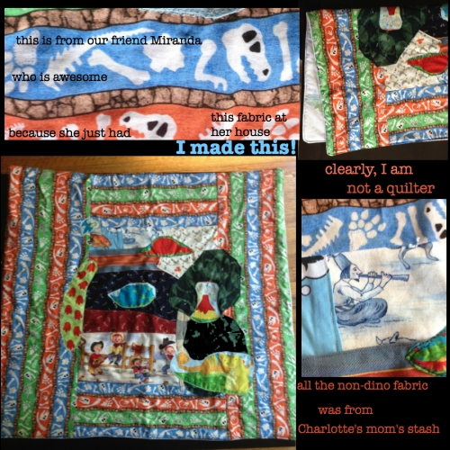 Memorial baby quilt with dinos!