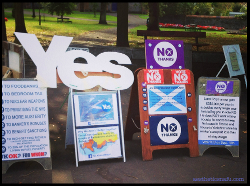 A display of Yes and No independence signs in Kirkudbright Scotland