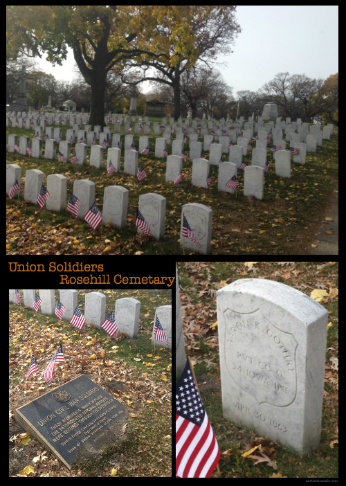 Civil War Union Soldiers graves at Rosehill Cemetery Chicago