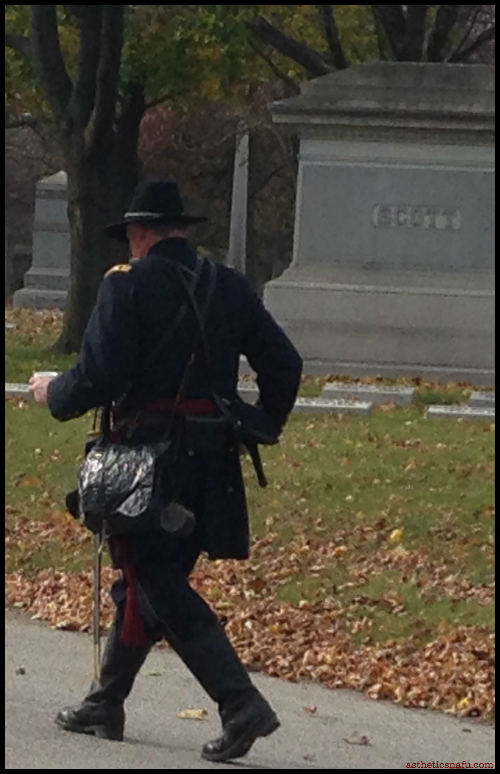 Walking soldier Vetrans Day at Rosehill Cemetery Chicago