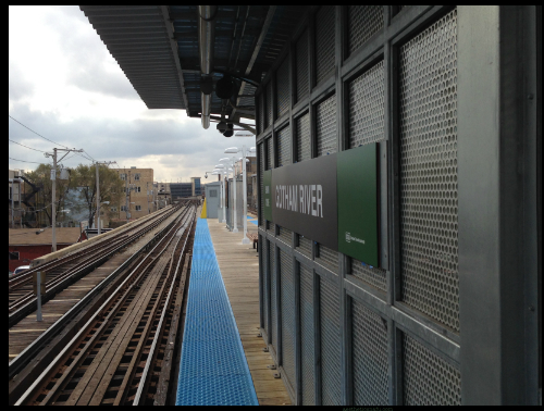 Does Gotham have better public transit than Chicago? Picture of Lawrence red line station transformed to Green River station for Batman vs. Superman filming.