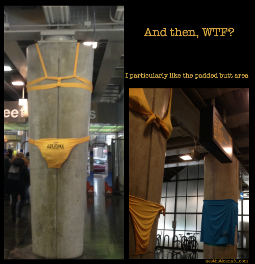 Weight bearing posts in CTA station poorly dressed in swimsuits for Arizona advertising