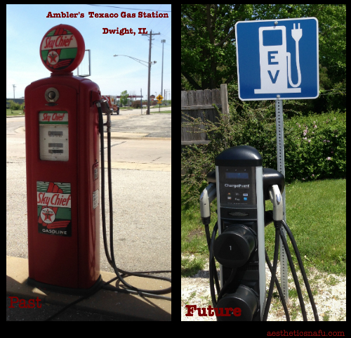 Ambler's Texaco Dwight IL picture of historical gas pump and electric car plug
