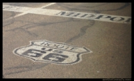 picture of Route 66 midpoint in Adrian Texas paint in the middle of the road